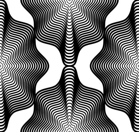Black and white illusive abstract seamless pattern with geometric figures. Vector symmetric simple backdrop. Illustration