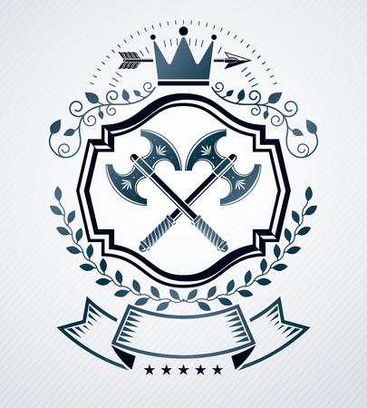 arsenal: Heraldic Coat of Arms decorative emblem isolated vector illustration.
