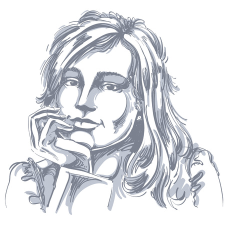 Vector art drawing of pensive romantic woman with stylish haircut. Black and white portrait of attractive pensive lady with beautiful visage features.
