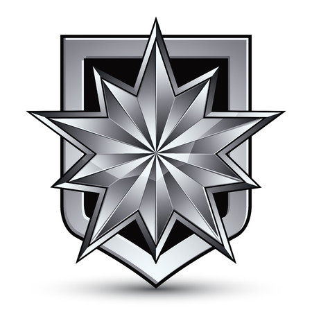 glorious: Vector glorious glossy design element with luxury 3d silver star, silvery conceptual graphic template, clear EPS 8 complicated shield. Illustration