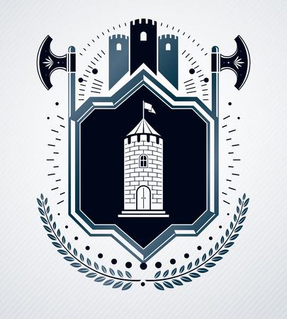Heraldic sign, element, heraldry emblem, insignia, sign, vector. Illustration