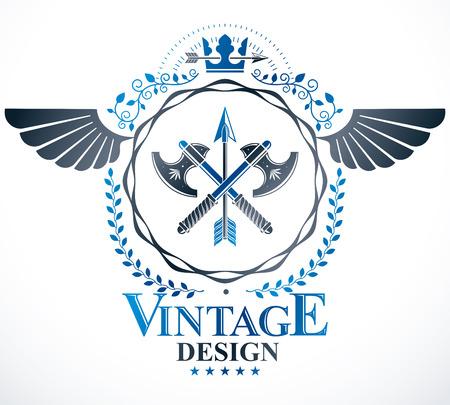Heraldic Coat of Arms decorative emblem isolated vector illustration.