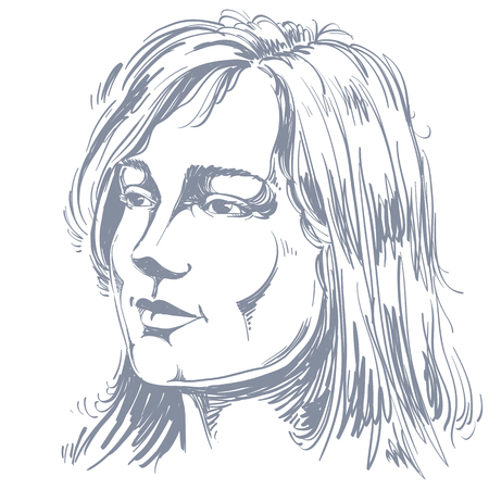 goodlooking: Portrait of delicate good-looking dreamy still woman, black and white vector drawing. Emotional expressions idea image.