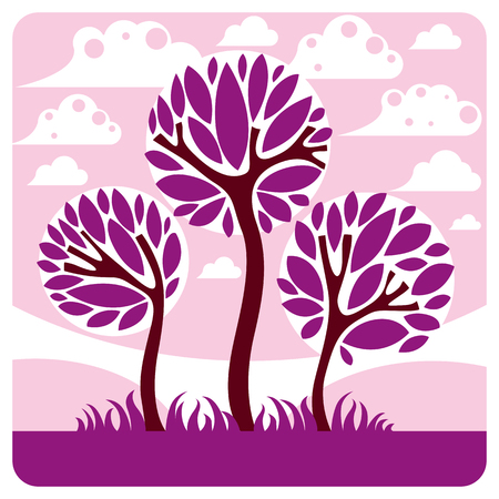 Art vector graphic illustration of stylized branchy tree and peaceful purple fantastic landscape with clouds and setting sun, fairy countryside view. Beautiful nature.