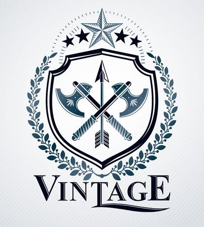 Heraldic design, vector vintage emblem.