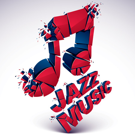 Red 3d vector musical note broken into pieces, explosion effect. Dimensional art melody symbol, jazz music theme.