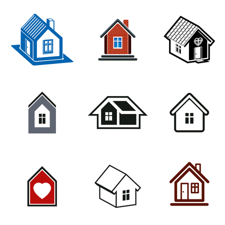 country house: Simple cottages collection, real estate and construction theme. Houses vector illustration with heart symbol.