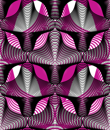 Continuous vector pattern with graphic lines, decorative abstract background with overlay shapes. Colorful ornamental seamless transparent backdrop, can be used for design.