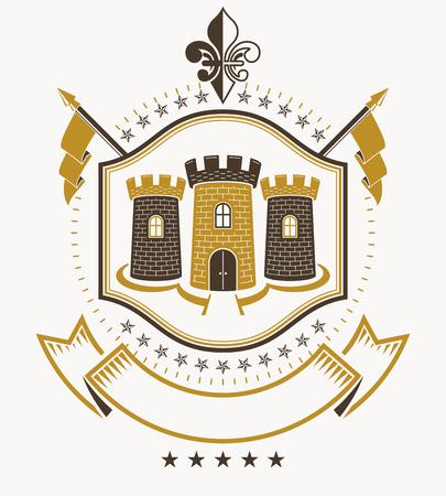 armory: Heraldic design, vector vintage emblem.