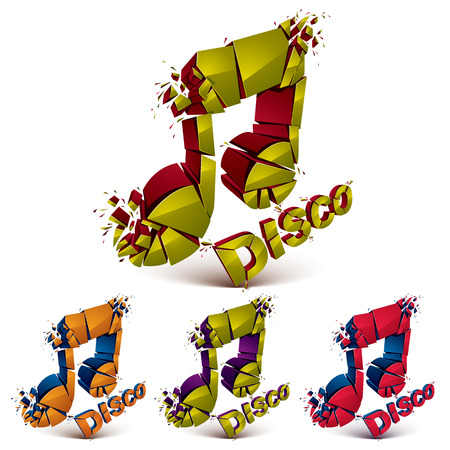Green and red 3d vector musical notes broken into pieces, explosion effect. Disco music theme dimensional art melody symbols set