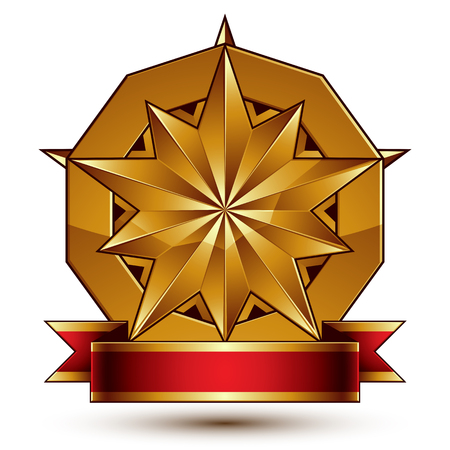 glorious: Complicated vector golden design element with polygonal decorative star and red curvy ribbon. 3d luxury medallion isolated on white background. Round festive dimensional badge with refined tape.