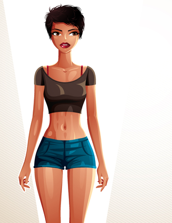 fullbody: Young pretty lady in a sportswear with modern female haircut. Vector illustration of a woman standing, full body portrait. Sport and fitness idea Illustration