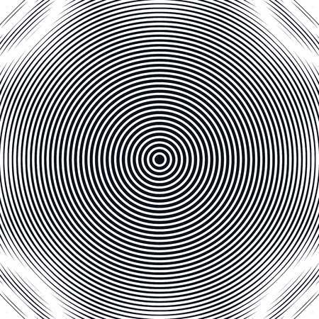Striped  psychedelic background with black and white moire lines. Gradient optical pattern, motion effect tile.