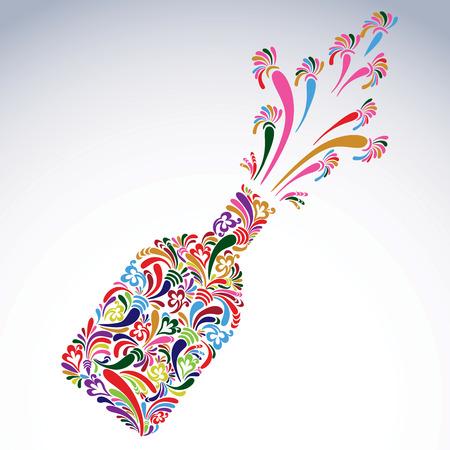 Celebration theme art symbol, stylish alcohol bottle with flowery pattern and bright splash. Holiday and event idea, lounge vector design element.