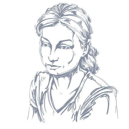 Vector portrait of sad attractive woman, illustration of good-looking sorrowful female. Person emotional face expression. Illustration