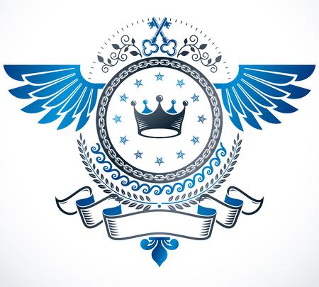 eagle shield and laurel wreath: Vintage emblem, vector heraldic design.