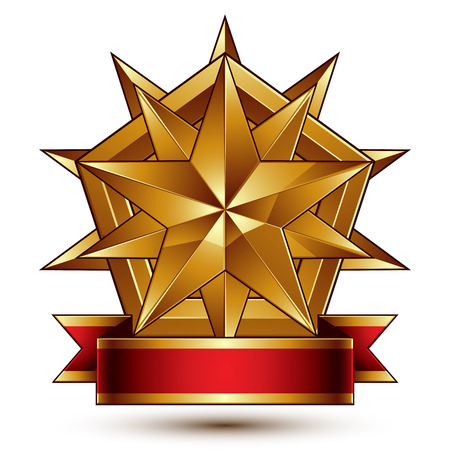 Vector complicated glossy design element, luxury 3d polygonal golden star placed on a decorative blazon, conceptual graphic coat of arms with wavy red ribbon, clear EPS 8.