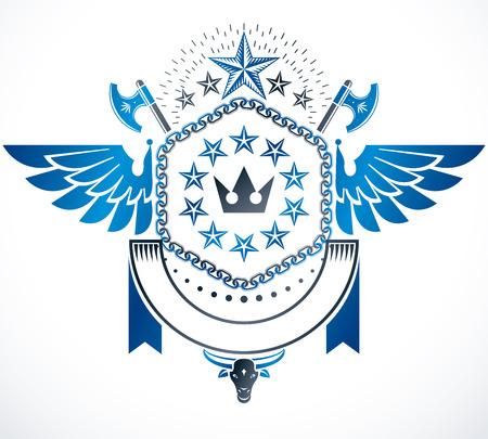 armory: Vintage emblem, vector heraldic design.