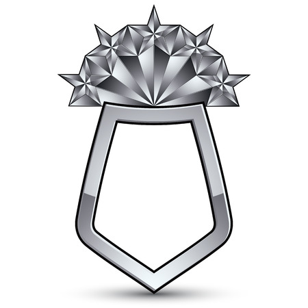 3d design element: Sophisticated vector blazon with five silver stars, silvery 3d design element, metallic clear EPS 8 emblem.