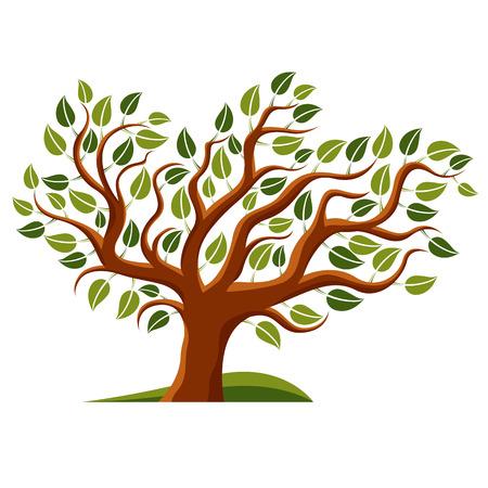 Vector illustration of stylized branchy tree isolated on white background. Ecology conservation theme image.