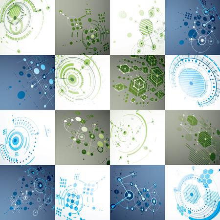 perspectiva lineal: arte Bauhaus, un conjunto de fondos de pantalla de vectores modulares hechas usando círculos y hexágonos. patrón de estilo retro, telones de fondo de perspectiva para su uso como cubrir las plantillas de folletos. Ilustración 3D de sistema de ingeniería.