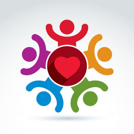 Corazón y organización médica y social de la salud icono, símbolo del vector con estilo conceptual para su diseño.