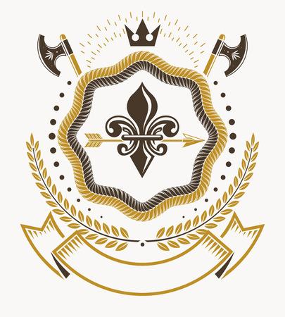 armory: Vintage heraldry design template, vector emblem.