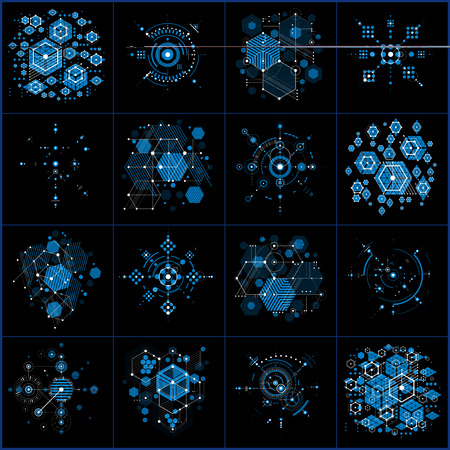 overlie: Bauhaus art composition. Set of blue modular vector wallpapers with circles and hexagons. Retro style patterns collection, graphic backdrops for use as booklet cover templates.