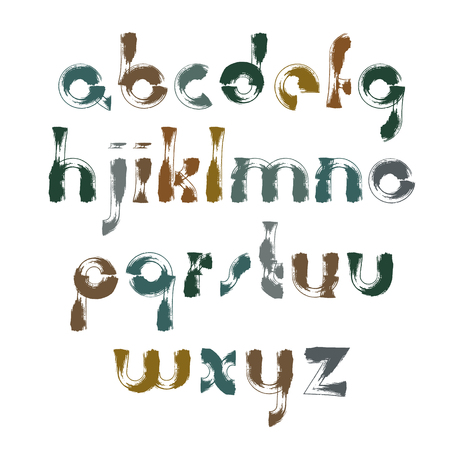 verb: Vector bright calligraphic font, handwritten watercolor lowercase letters isolated on white, unusual typeface drawn with ink brush, doodle alphabet. Illustration