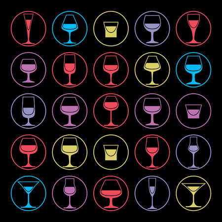 goblet: Colorful vector drinking glasses collection. Set of alcohol theme simple illustrations. Celebration elements, best for use in graphic and web design. Illustration
