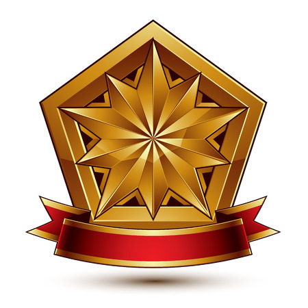 glorious: Vector glorious glossy design element, luxury 3d polygonal golden star placed on a decorative blazon, conceptual graphic coat of arms with wavy red ribbon, clear EPS 8.
