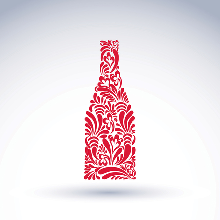 Alcohol theme graphic flower-patterned element. Classic bottle with abstract flower pattern and with decorative curls. Leisure and relaxation vector object. For use in web design and advertisement. Illustration