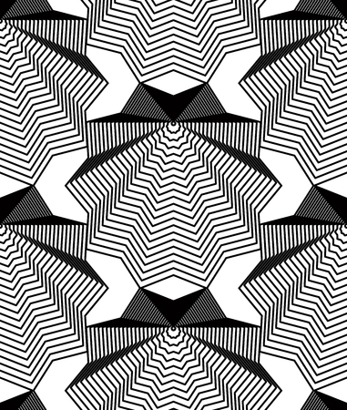 regular: Continuous vector pattern with black graphic lines, decorative abstract background with geometric figures. Monochrome ornamental seamless backdrop, can be used for design and textile.