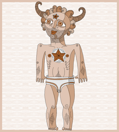 nude man: Vector illustration of nude man, mythic creature. Hand drawn image of person isolated on white symbolizing love and goodness.