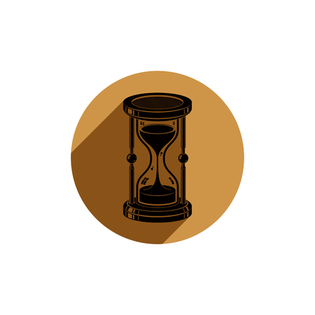 interim: Old-fashioned simple 3d hourglass, time management business icon. Time is running out conceptual symbol.