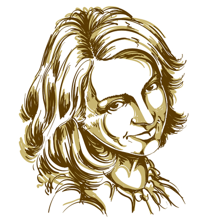 Hand-drawn vector illustration of beautiful happy and pleased woman. Monochrome image, positive expressions on face of young lady.