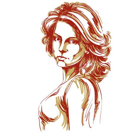 Met de hand getekende vector illustratie van mooie zelfverzekerde vrouw. Creatief beeld, uitdrukkingen op het gezicht van jonge dame, Kaukasische type.