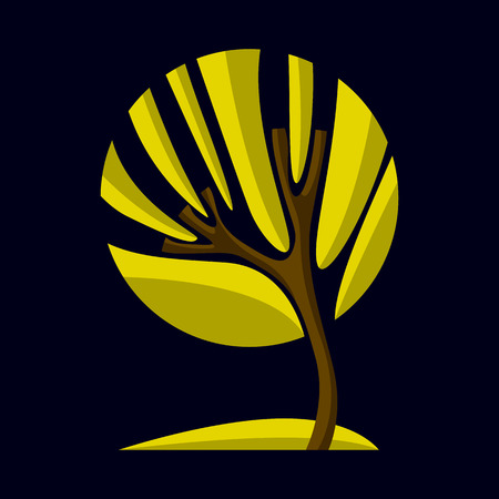 Artistic stylized natural symbol, creative tree illustration. Can be used as ecology and environmental conservation concept. Illustration