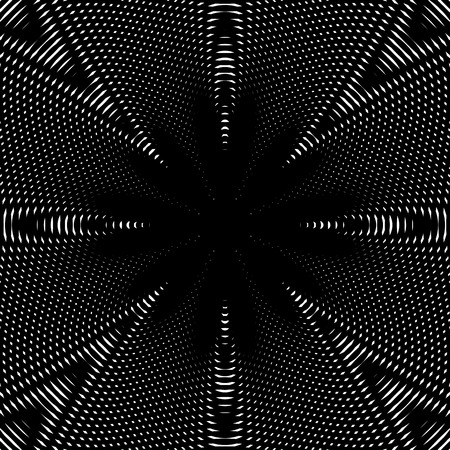 meditative: Black and white moire lines, striped  psychedelic background.  Op art style vector contrast pattern. Illustration