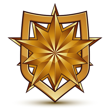 branded: Branded golden geometric symbol, stylized golden polygonal star, best for use in web and graphic design, corporate vector icon isolated on white background.