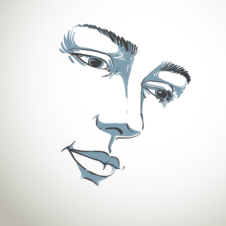 sorrowful: Hand-drawn portrait of white-skin sorrowful woman, sad face emotions theme illustration. Beautiful melancholic lady posing on white background, face features.