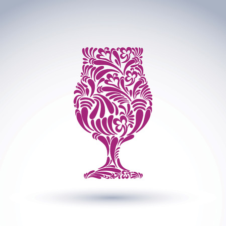 Natural decoration, graphic snifter with bright flower-patterned filling and curls. Alcohol idea leisure vector illustration, creative cognac glass, for use in design and advertising.