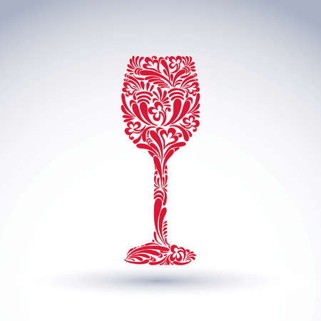 Creative goblet with floral ethnic pattern, relaxation and alcohol theme vector object. Sophisticated wineglass, romantic design element, can be used in graphic design.