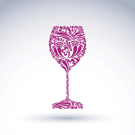 rendezvous: Creative goblet with floral ethnic pattern, relaxation and alcohol theme object. Sophisticated wineglass, romantic vector design element, can be used in graphic design.
