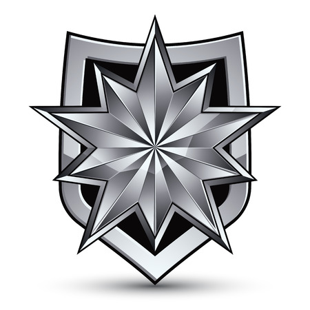Sophisticated vector blazon with a silver star emblem, silvery 3d polygonal design element, metallic clear EPS 8. Illustration