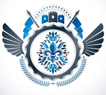 citadel: Heraldic design, vector vintage emblem.