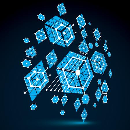 perspectiva lineal: arte Bauhaus, 3d modular de papel tapiz azul del vector hecha usando hexágonos y círculos. patrón de estilo retro, perspectiva contexto gráfico para su uso como plantilla de la cubierta folleto. Sistema de ingeniería.