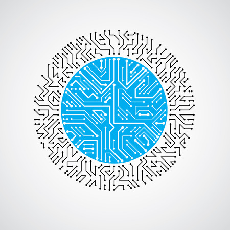 microprocessor: Vector abstract colorful technology illustration with round blue circuit board. High tech circular digital scheme of electronic device.