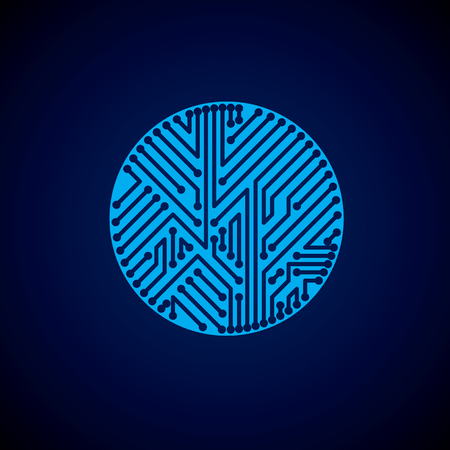 electronic components: Round circuit board with electronic components of technology device. Computer motherboard cybernetic blue vector abstraction.