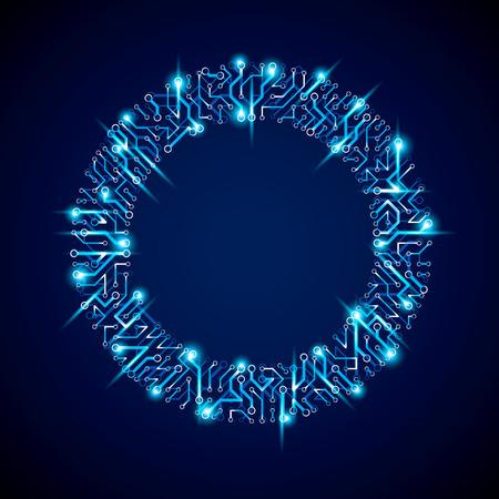 Cercle de circuit imprimé mousseux de vecteur, abstraction de technologies numériques. Schéma de microprocesseur d'ordinateur d'éclat bleu, conception futuriste de néon. Vecteurs